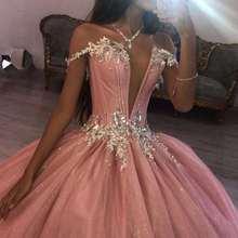Розовые платья xv quinceanera 2020 с глубоким v образным вырезом