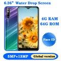 X2 Pro Android мобильных телефонов 4 Гб Оперативная память 64G Встроенная память глобальная версия смартфонов 6,26