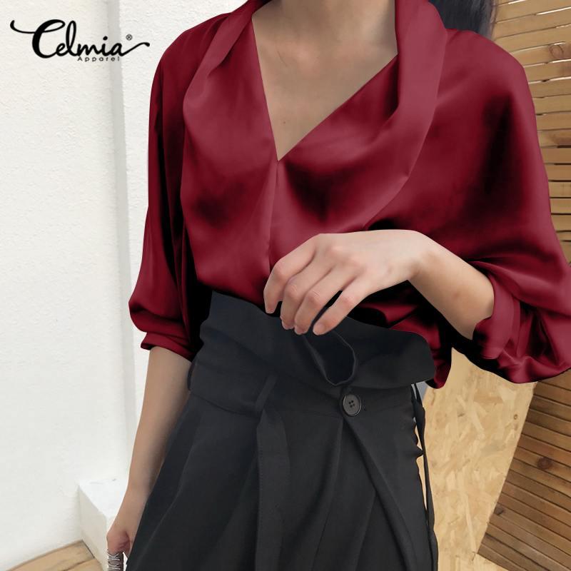 Celmia Plus Size Vintage Office Blouse Women Long Sleeve Shirt  Casual Elegant Loose Blouse Autumn V Neck Satin Fashion Blusas