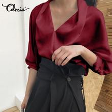 Celmia Plus Size Vintage Office Blouse Women Long Sleeve Shirt  Casual Elegant Loose Blouse Autumn V Neck Satin Fashion Blusas