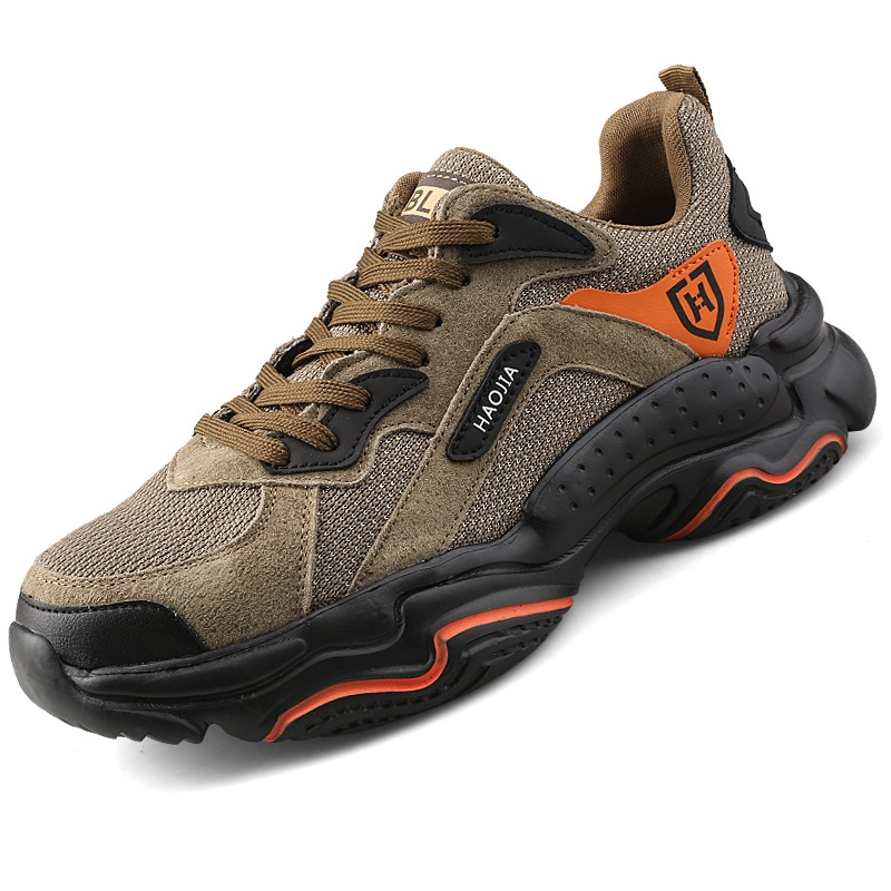Men's Fashion Breathable Steel Toe Cap Work Safety Shoes Outdoor Cowhide Suede Shoes Non-slip Anti-piercing Protective Shoes