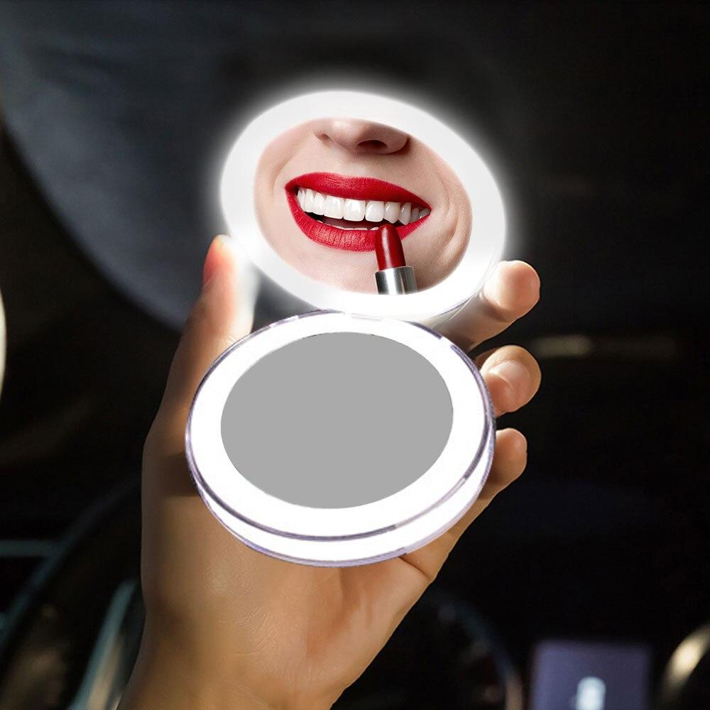 LED Mini miroir de maquillage Portable USB Rechargeable Compact miroir salle de bain miroir cosmétique pliant petit miroir de poche Portable