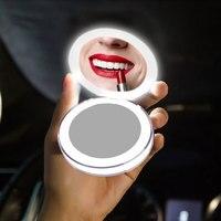 LED مرآة ماكياج صغيرة محمولة USB قابلة للشحن مرآة مدمجة الحمام مرآة التجميل للطي مرآة جيب صغيرة محمولة|مرايا حمام|   -