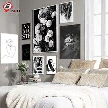 Hoja de palma oscuro Rosa amor lona grabados y carteles Vintage blanco y negro impresión Namaste citar fotos arte de la pared de casa decoración