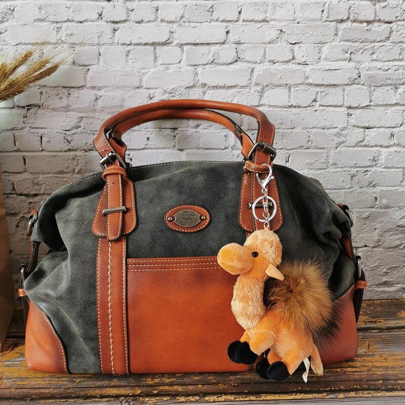 2019 Genuine Leather Women Handbag Large Capacity Brush Bolsos Multi-functional Travel Bag For Ladies Motorcycle Shoulder Bag RU