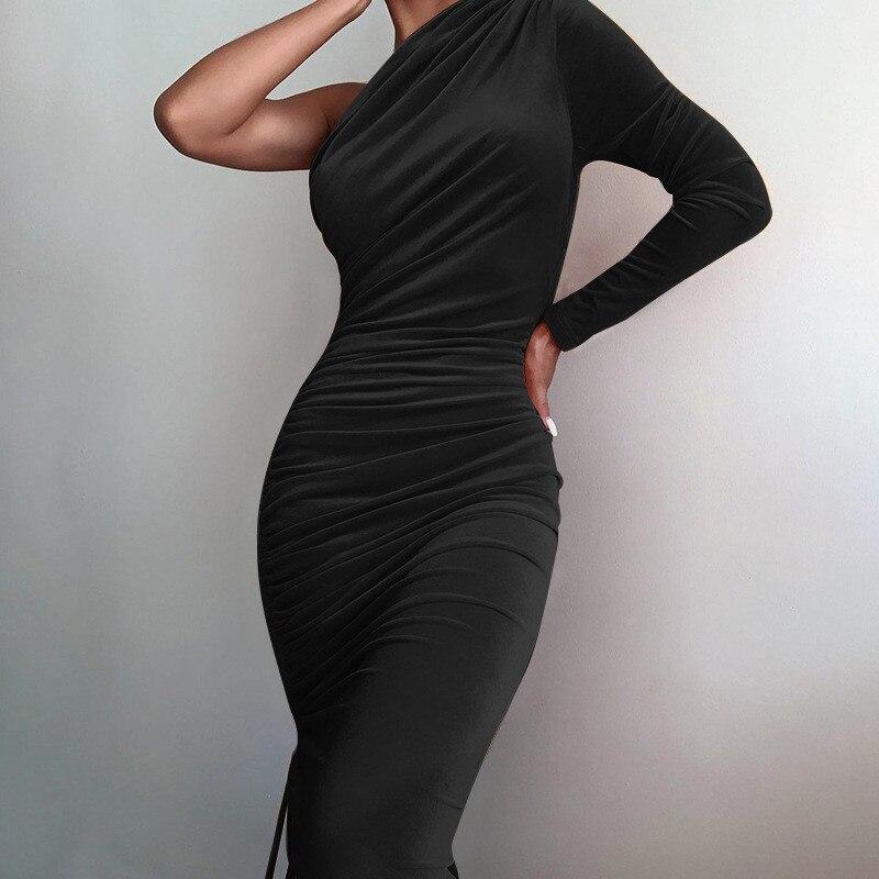 one shoulder midi dress08