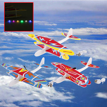 Electric Plane LED EPP Foam Airplane Hand Launch Throwing Glider Aircraft Model Outdoor Kids Educational Toy Children Adult Gift(China)