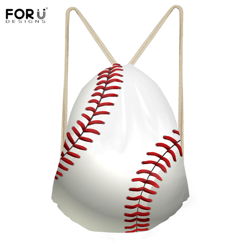 FORUDESIGNS 3D Baseball Print Polyester Drawstring Bags Teenager Girls Boys Outdoor Shoes Bag Backpack Casual Women String Sack