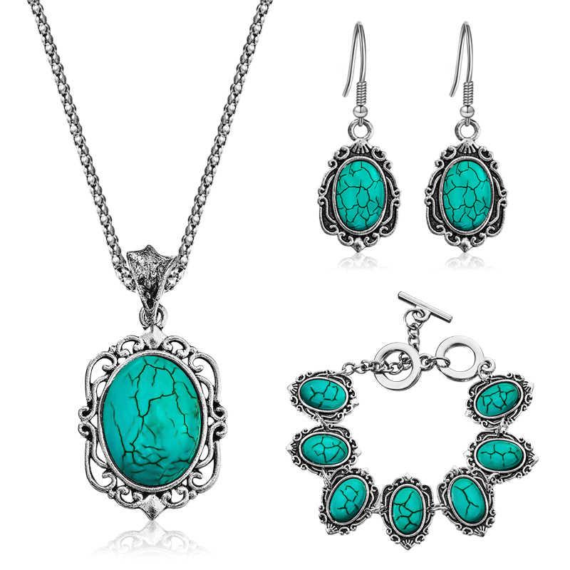 H: HYDE Tibetischen Silber Kette Wasser Tropfen Kristall Maple Leaf Schmuck Sets Frauen Vintage Halskette Ohrringe parure bijoux