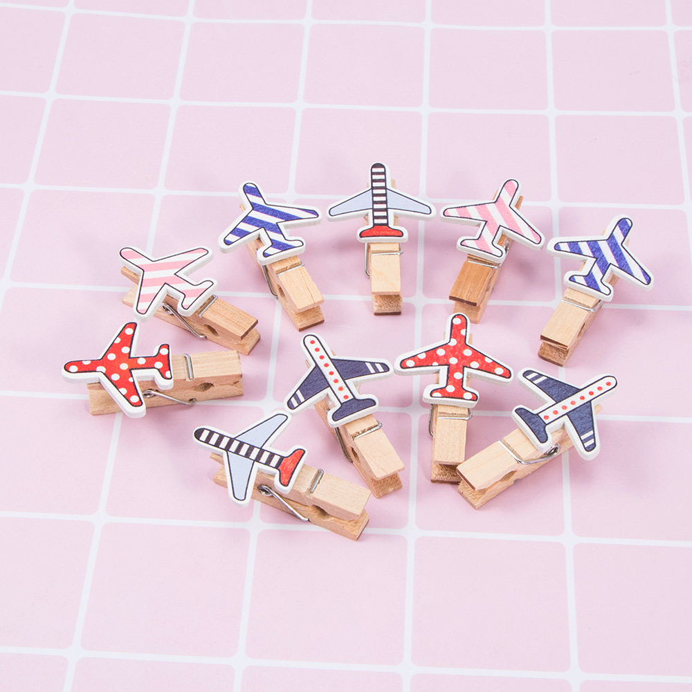 10 Pcs/pack Kawaii Cartoon Plane Wooden Clip Photo Paper Craft DIY Clips Clothespin Craft Clips Party Decoration Bookmark