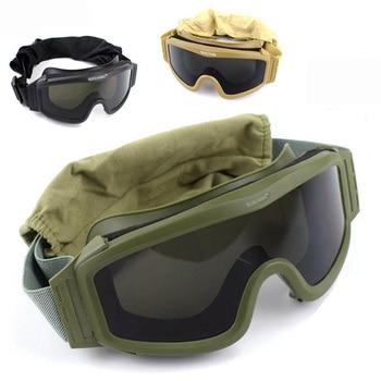 Gafas de sol militares para disparar, lentes de sol tácticos de color negro y verde, 3 lentes, Airsoft, Paintball, motocicleta, a prueba de viento, juego de guerra