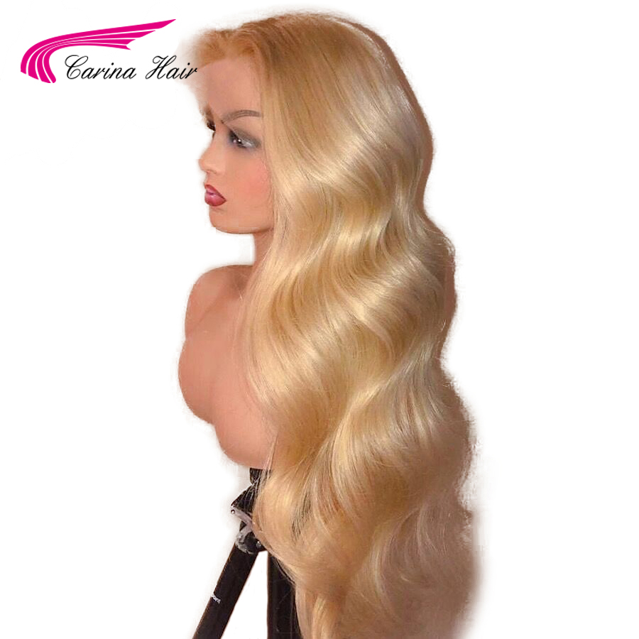 Carina Brazilian 613 Blonde Lace Front Human Hair Wigs Remy Hair Pure With Baby Hair 13*4 Bleached Knots Body Wave