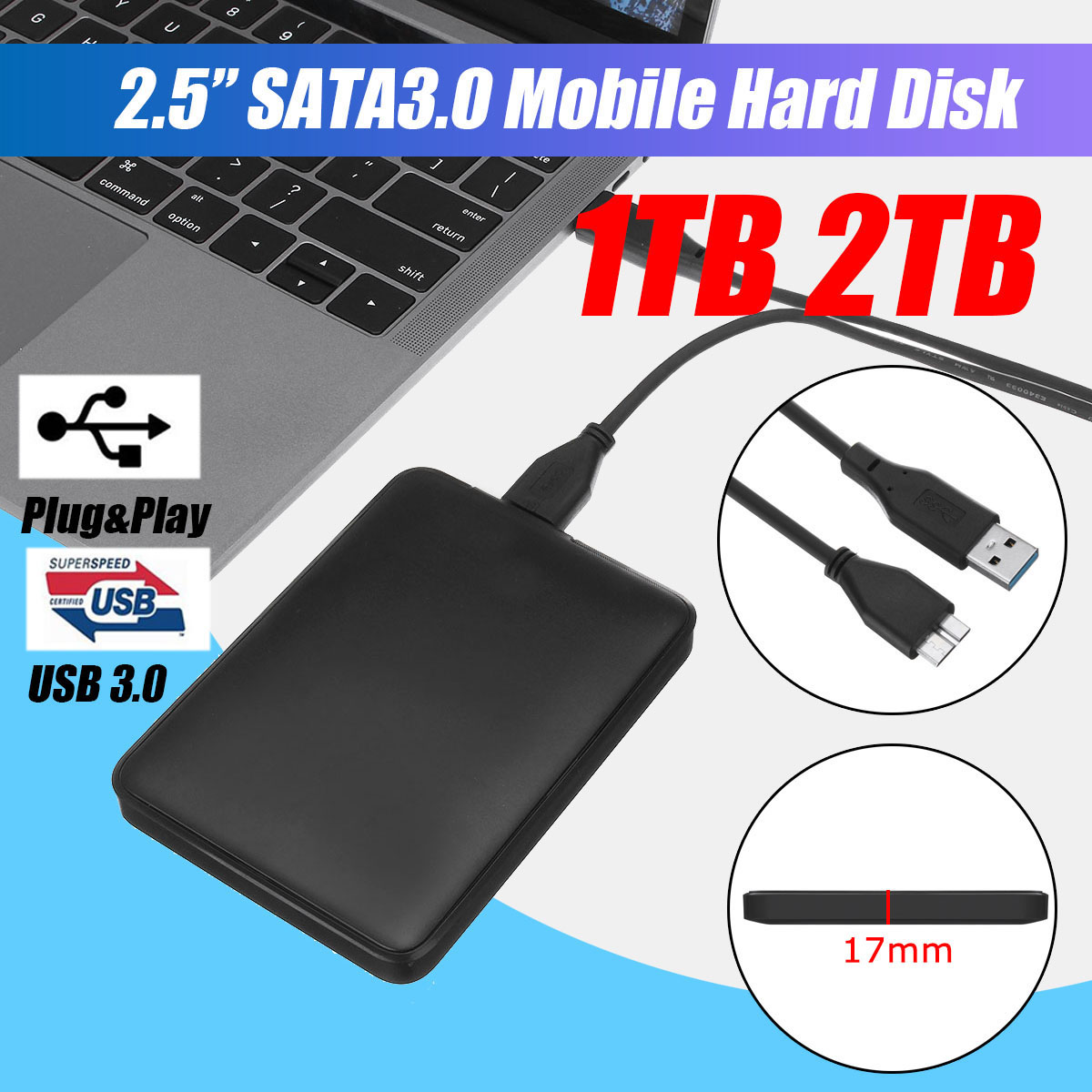 2.5 External Hard Drive USB3.0 HDD HD Hard Disk 1TB/2TB Mobile Hard Disk HDD Storage Devices For Macs Computer Desk Laptop