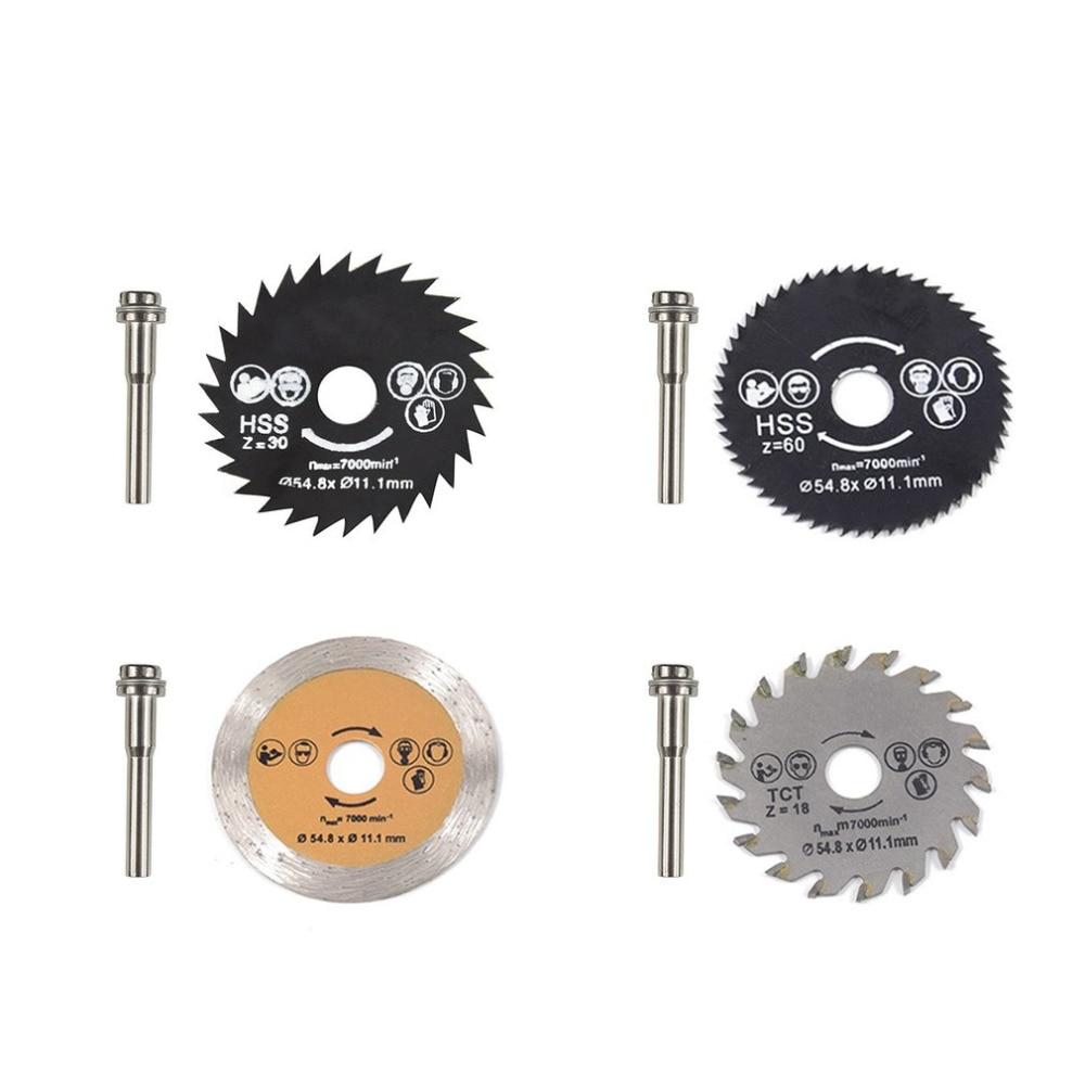 HSS Circular Saw Blade Rotary Tool 54.8mm Mini Wood Cutting Discs Blades With Drill Mandrel For Dremel Metal Cutter