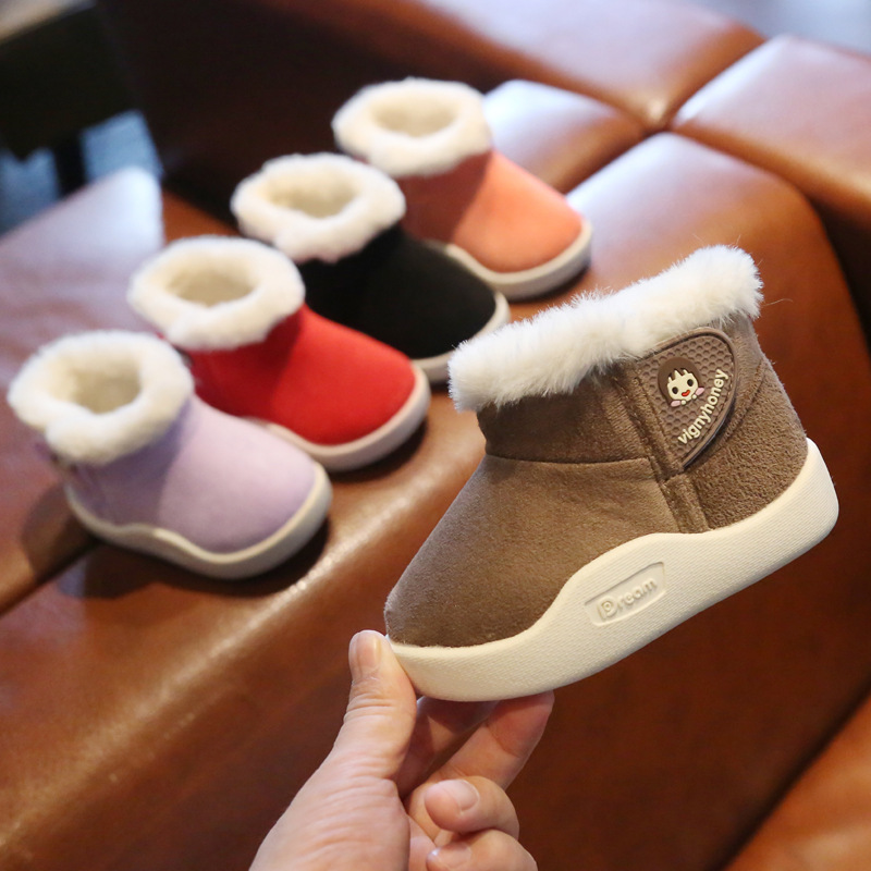 Winter Baby Snow Boots Velvet First Walkers Soft Botton Boys Snow Boots Solid Cartoon Baby Girls Snow Boots Kids Winter Shoes