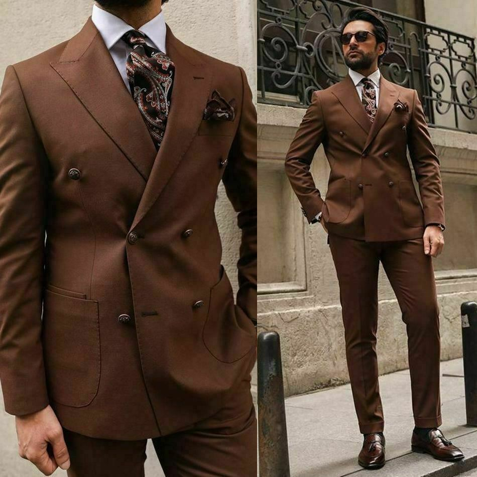 2021 Latest design pointed Lapel double breasted brown men suits for wedding slim fit formal business man suit Coats and pants