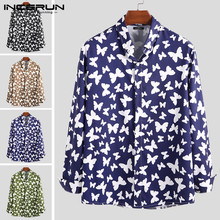 INCERUN Men Chic Butterfly Printed Long Sleeve Shirts Casual Vacation Brand Lapel Neck Button Down Blouse Camisa Masculina 2020 butterfly sleeve button through crop blouse