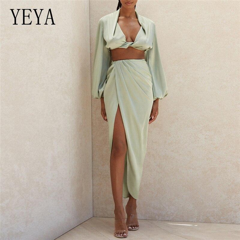 Комплект YEYA из двух предметов, женские пляжные наряды для отпуска, сексуальная укороченная блузка, рубашки, длинная юбка с высоким разрезом, подходящий костюм