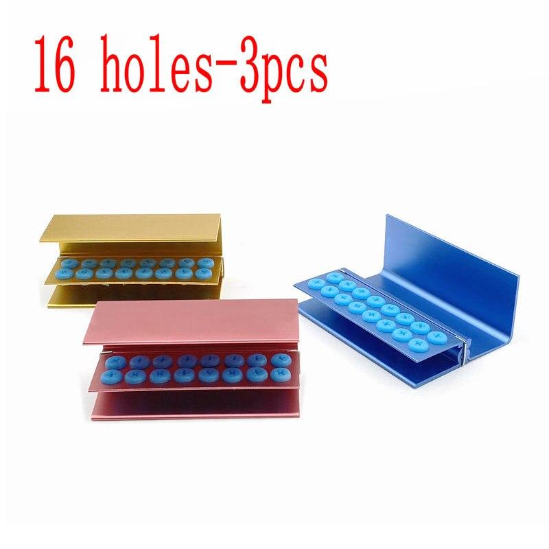 3pcs 16 Holes Dental Burs Holder Block Case For High Speed Burs& Low Speed Burs Dental Autoclavable Burs Holder