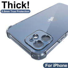 Phone-Case Back-Cover Shockproof Silicone for 12 11/Pro-xs/Max-lens Xr 6s 7 8-Plus Thick