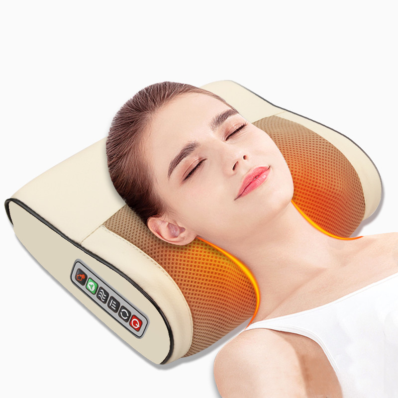 Infrared Heating Electric Massage Pillow Neck Shoulder Back Head Body Musle Multi Relaxation Massager Shiatsu Relief Pain Device