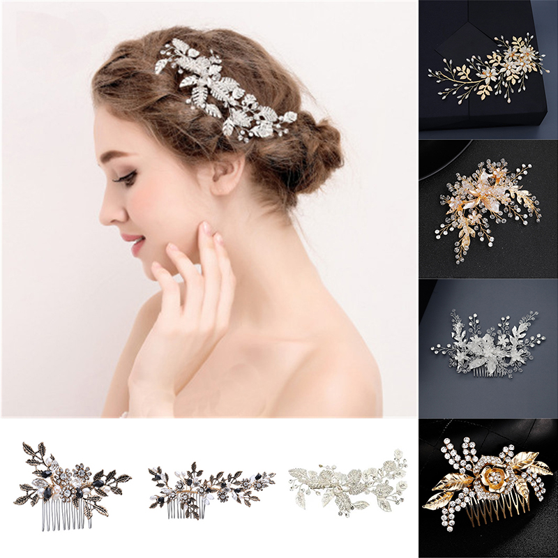 Flowers Bridal Hair Combs Metal Leaf Women Jewelry Accessories Trendy Handmade Bride Headwear Silver Head Comb Charms Headdress