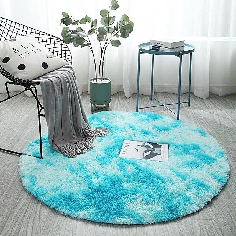 Fluffy Round Light Grey Rug Carpets For