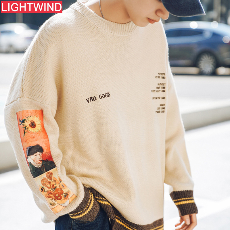 2020 Men Hip Hop Sweater  Van Gogh Painting Embroidery Harajuku Streetwear Sweater Pullover Cotton Autumn Sweatshirt Hipster