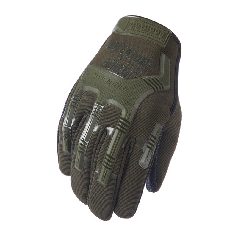 Tactical Army Military Gloves Olive Green Camouflage Paintball Airsoft Combat Rubber Protective Anti-Skid Full Finger Glove Men