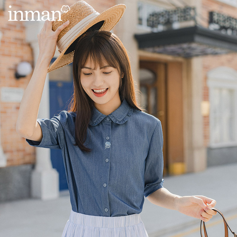 INMAN 2020 Summer New Arrival Lapel Simple But Elegant Embroidered Retro Short Sleeve Blouse
