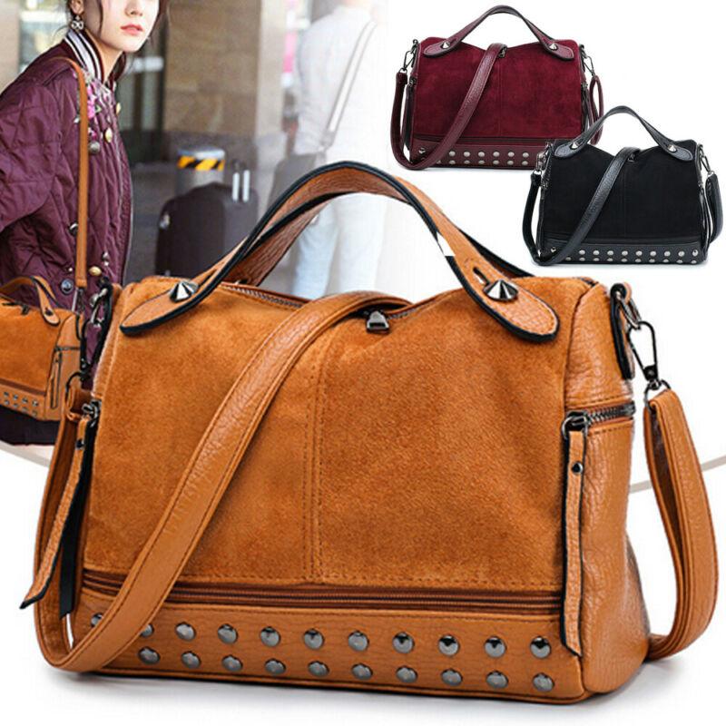 Women Lady Faux Leather Handbag Shoulder Messenger Bag CrossBody Bags Large Capacity Travel Rivet Matte Tote