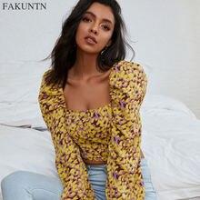Fakuntn сексуальная женская футболка топ 2020 осенняя мода корейский