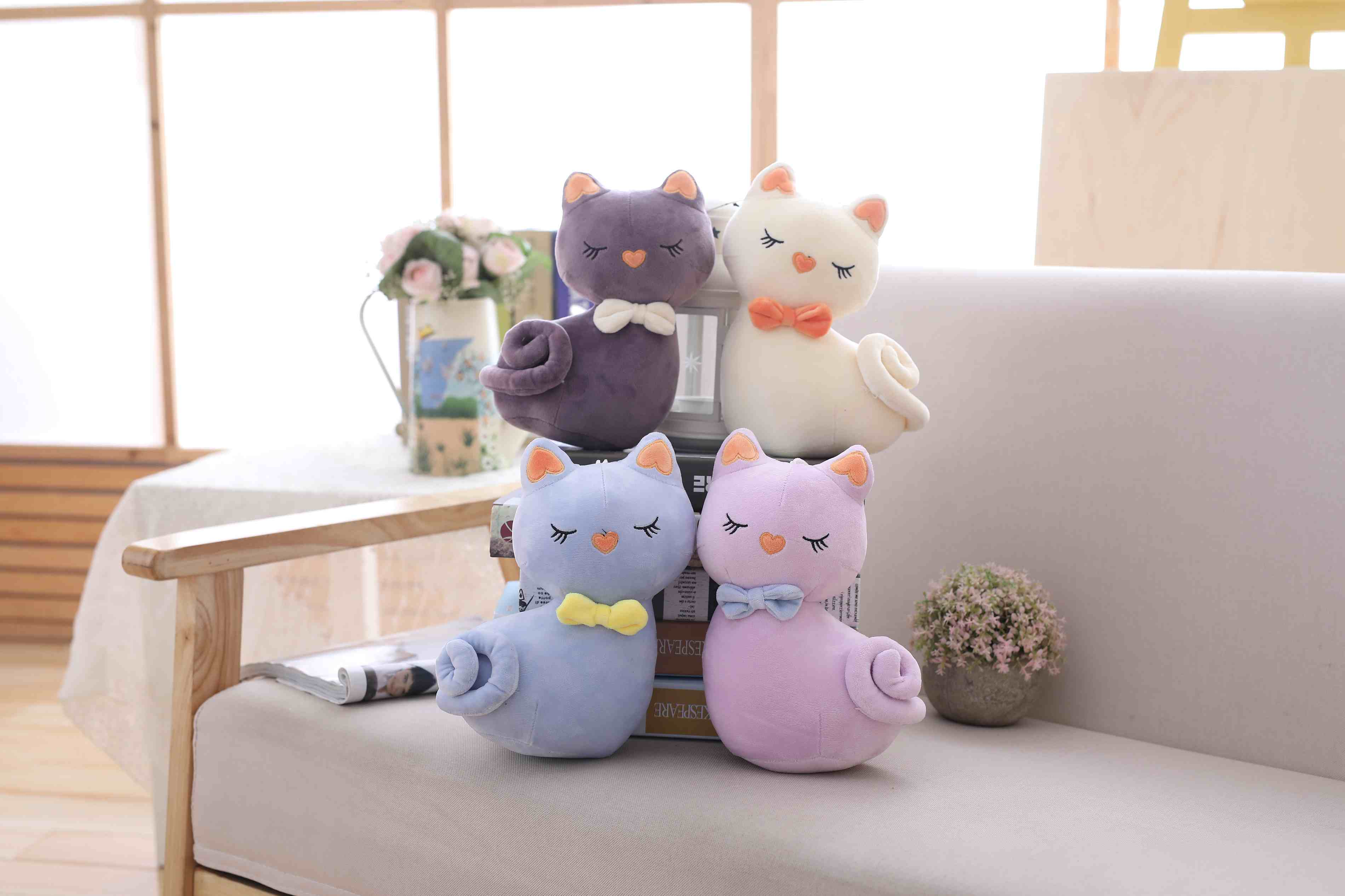 NEW 1PCS 4colors KAWAII 27CM Cats Stuffed TOYS Keychain Cat Gift Plush TOY DOLL For Kid's Party Birthday Plush Toys For Girl NEW