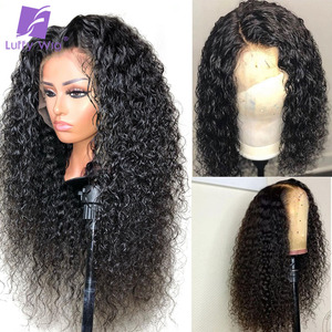 Image 2 - 13x4 Curly Lace Front Wig 180Density Glueless Deep Part Preplucked Remy Brazilian Human Hair Wigs Bleached Knots For Women LUFFY