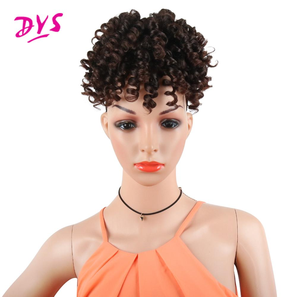 Deyngs Ponytail Short Kinky Curly Synthetic Heat-Resistan Afro Women with Bangs for Black-Color