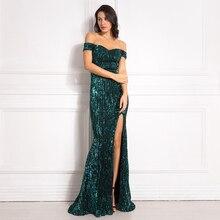 Argento Con Paillettes Maxi Vestito Anteriore Spaccato Al Largo Della Spalla Aderente Lunghezza Del Pavimento Del Vestito Elegante Mermaid Dress