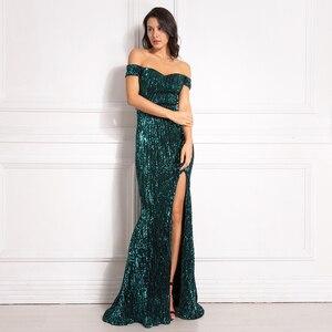 Image 1 - Gümüş Payetli Maxi Elbise Bölünmüş Ön Kapalı Omuz Bodycon Kat Uzunluk Elbise Zarif Mermaid Elbise