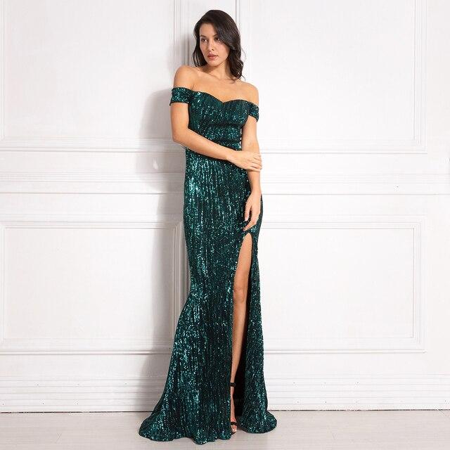 Gümüş Payetli Maxi Elbise Bölünmüş Ön Kapalı Omuz Bodycon Kat Uzunluk Elbise Zarif Mermaid Elbise