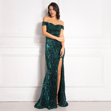 Silver Stretchy Sequined Maxi Dress Split Front Off the Shoulder Bodycon Floor Length Dress Elegant Mermaid Dress Green Gold