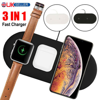 USLION 3 in 1 QI DC 5V Wireless Charger 10W Fast Charger For Iphone 11 Pro 11 XR XS X 8 Dock For Apple Watch 5 4 Airpods 2 Pro image