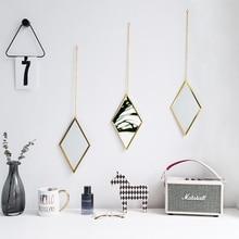 Nordic Metal Gold Decor Mirror Wall Hanging Diamond Shape Creative Handicraft Living Room Bathroom