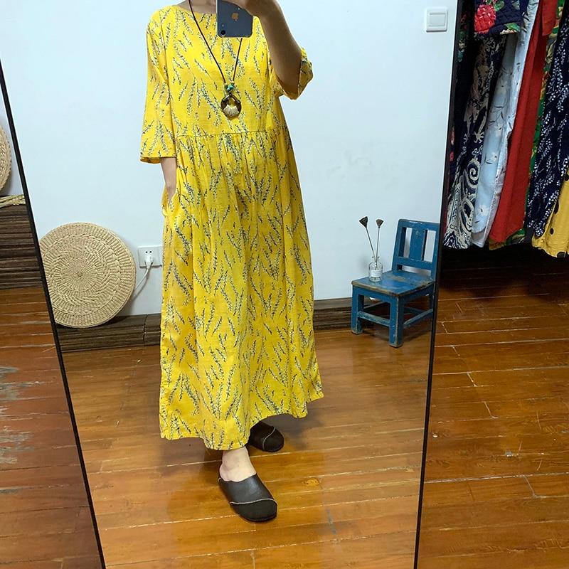 Summer Thin Floral Cotton Slub Cotton Dress Loose And Comfortable Half Sleeve Waist Long Ankle-length Dress