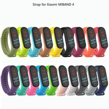 Colorful mi band 4 accessories pulseira miband 4 strap replacement silicone Wriststrap for xiaomi mi4 smart bracelet Wristband(China)