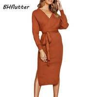 BHflutter 2019 Herbst Winter Kleid Frauen Neue Batwing Beiläufige Gestrickte Kleid Damen Elegante Lange Hülse Pullover Kleider ropa mujer