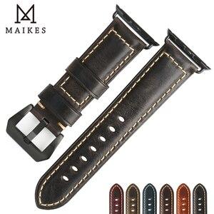 Image 5 - MAIKES accesorios para reloj apple watch, correa de cuero de vaca genuino, 40mm, 38mm, Correa marrón para apple watch de 44mm y 42mm, pulsera iwatch 4