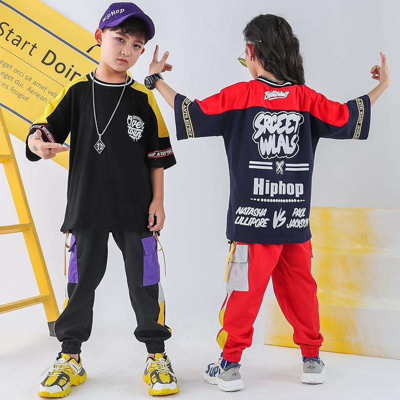 Children Hip Hop Set Men And Women Children Fashion Jeans Short Sleeve Children Hiphop Clothes Hip Hop Performance Clothing