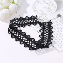 Bohemia Vintage Hollow Out Lace Choker Necklace Popular Black Wide Short Clavicle Chain Necklace Fashion Jewelry For Women vintage pentagram hollow out bead necklace for women
