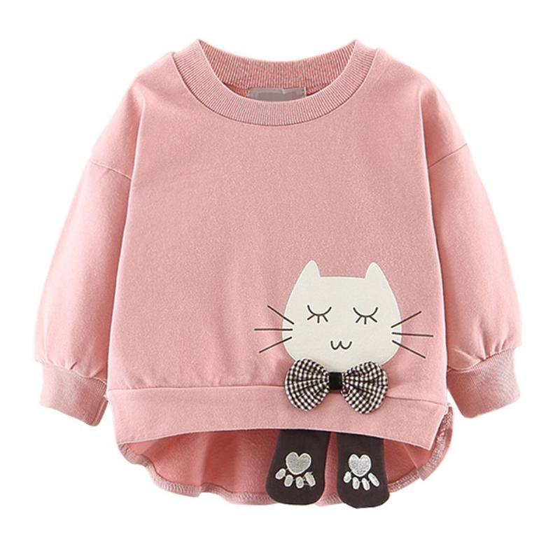 Модный Асимметричный детский джемпер с круглым вырезом для девочек; осенний свитер с длинными рукавами; пуловер с рисунком кота; топы - Цвет: Розовый