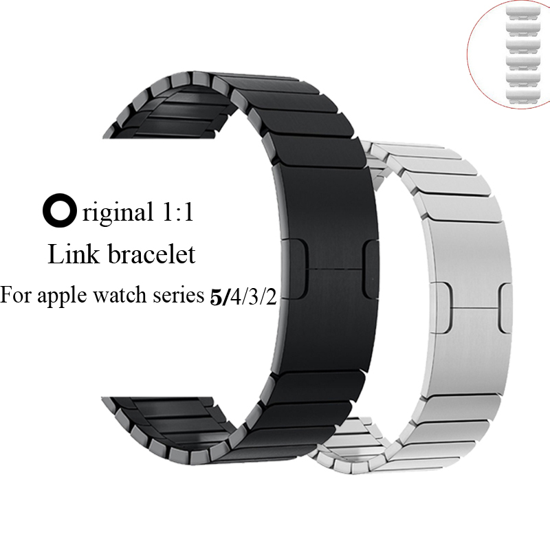 Link Bracelet Strap For Apple Watch Band 42mm 38mm 44mm 40mm Iwatch Series 5 4 3 2 1 Stainless Steel Watchband Gen.6 Adjustable