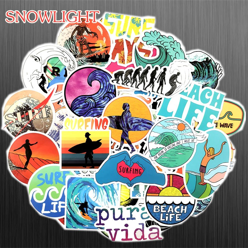 50Pcs/Set INS Fun Beach Surfing Stickers For Laptop Luggage Skateboard Guitar Motocycle Doodle Decor Helmet Surfboard Stickers
